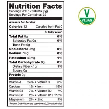 サンフード スピルリナ&クロレラタブレット栄養成分表-ベストバランスでブレンドされたスーパーフードタブレット