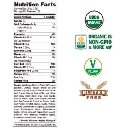 サンフード サンイズシャイニング スーパーグリーン栄養成分表-栄養素とミネラルが凝縮!グリーンスーパーフードブレンド