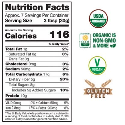 サンフード スーパーフードチョコレートスムージーミックス栄養成分表-まるでチョコレートスムージーのようなスーパーフードミックス!
