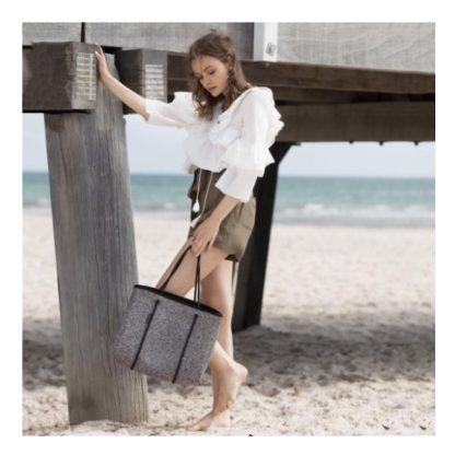 ウィローベイ トートバッグ-オーストラリア発!大人気ネオプレーン素材バッグ-杢グレー