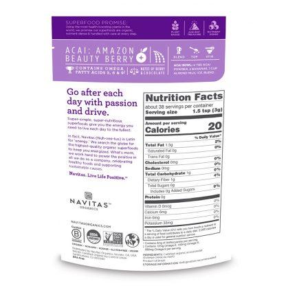 ナビタス オーガニック アサイーパウダー栄養成分表-栄養豊富な低GI食品