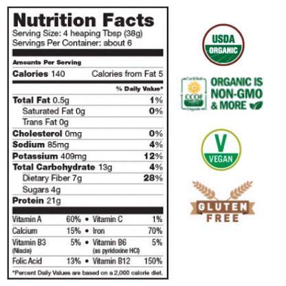 サンフード オーガニック スーパーグリーン&プロテイン栄養成分表-グリーンスーパーフードと発芽玄米プロテイン、乳酸菌、酵素をブレンド