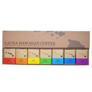 7種類のハワイアンコーヒーをテイスティングできるカワイイレインボーのコーヒーセット